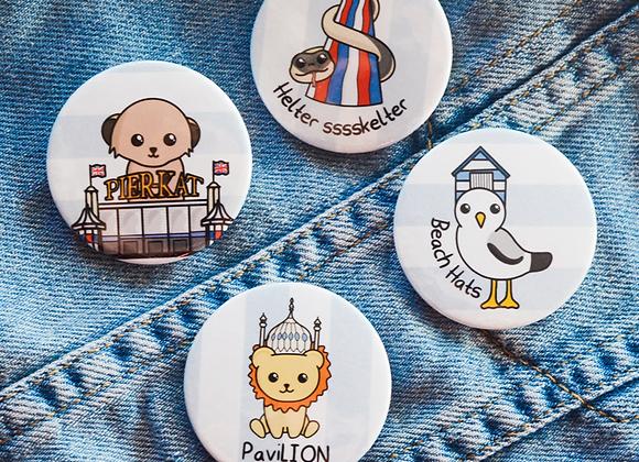 brighton badges, gift for brighton student