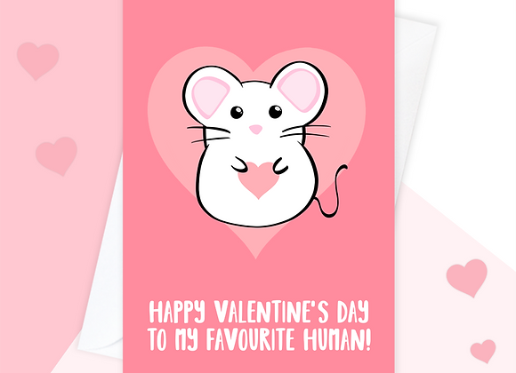 Mouse valentines card, valentines card from the mouse