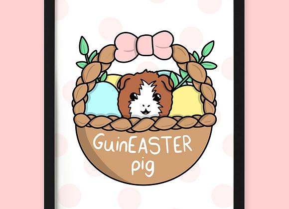 guinea pig easter print, easter gift for guinea pig owner
