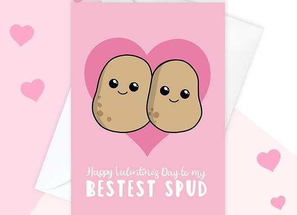 Best Friend Valentine's Card, Bestest Bud Potato Valentine's Card