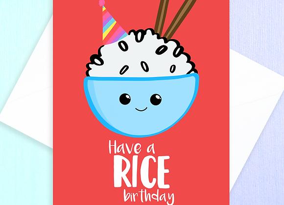 rice birthday card, rice themed birthday card