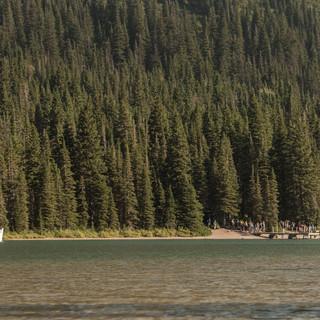19 - Lake Josephine Many Glacier GNP (Female Moose and The Morning Eagle)