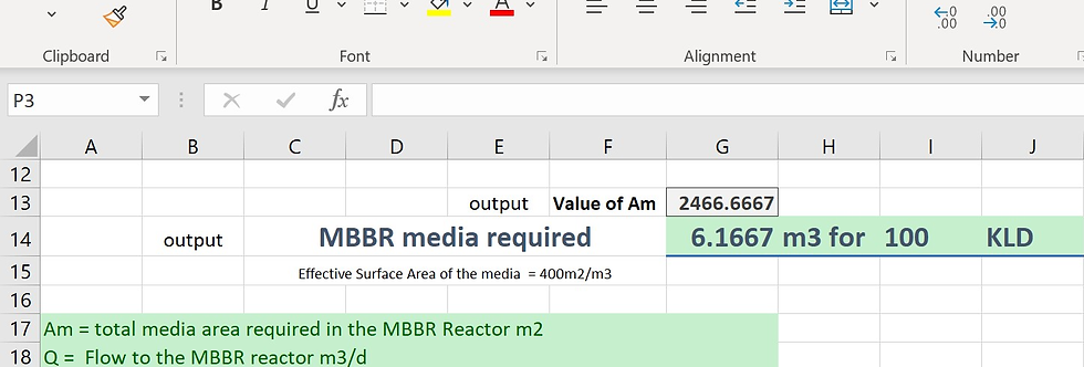 MBBR Media Volume Calculations in Excel Format STP ETP