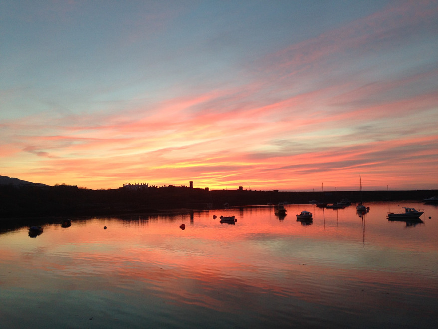 Porth Felin moorings sunset