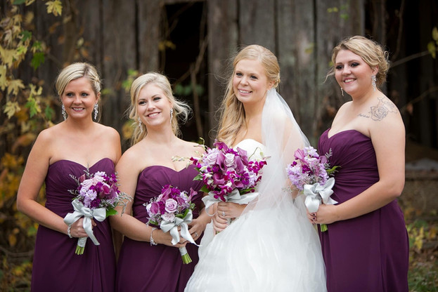 Bride's makeup and bridesmaids' hair by me. Bridesmaids' makeup by Melissa Blayton's Pro Artistry Team, Kansas City, MO. Photo credit unknown
