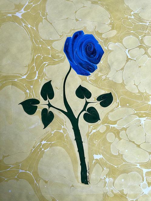 Blue Rose- Ebru Art
