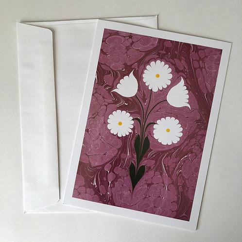 Ebru Art Greeting Card - Daisies