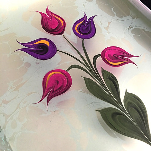 How to draw beautiful flowers in Ebru Art?  March 4th, 2019 11 pm