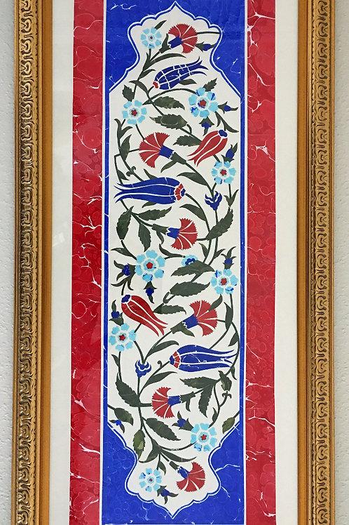 Window to Istanbul- Ebru Art Collage - Comission Artwork