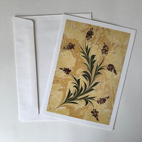 Ebru Art Greeting Card - Bouquet