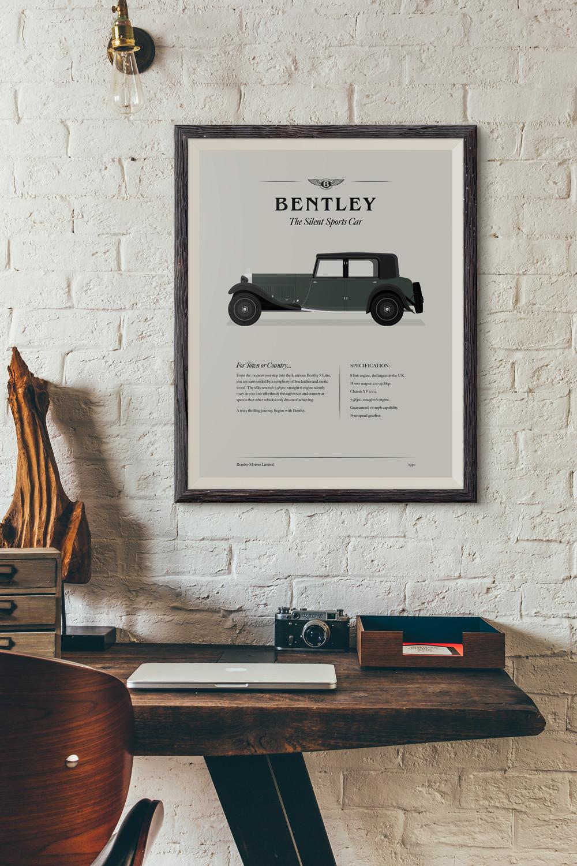 Framed 1930's Bentley 8 Litre