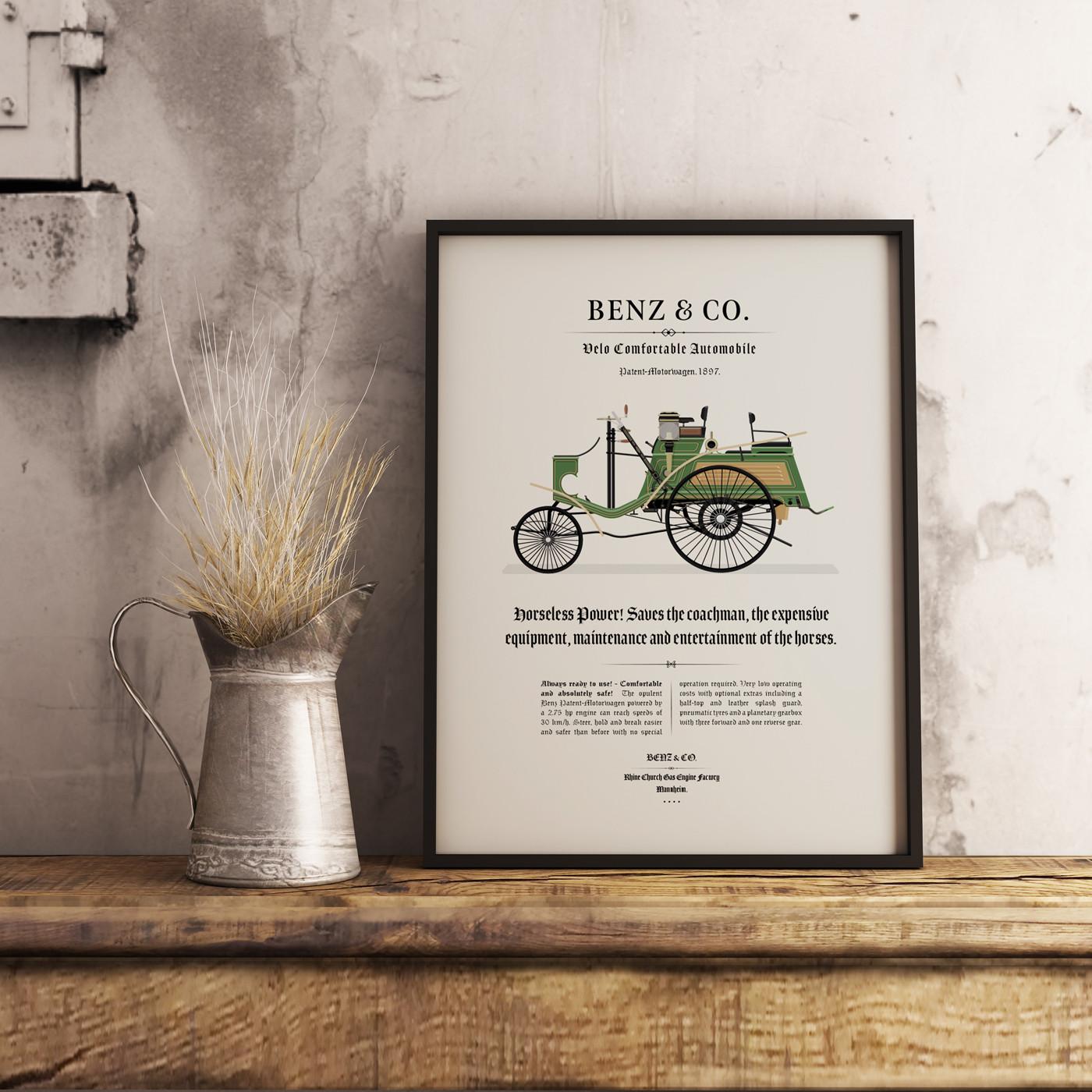 Framed 1897 Benz - Velo Comfortable