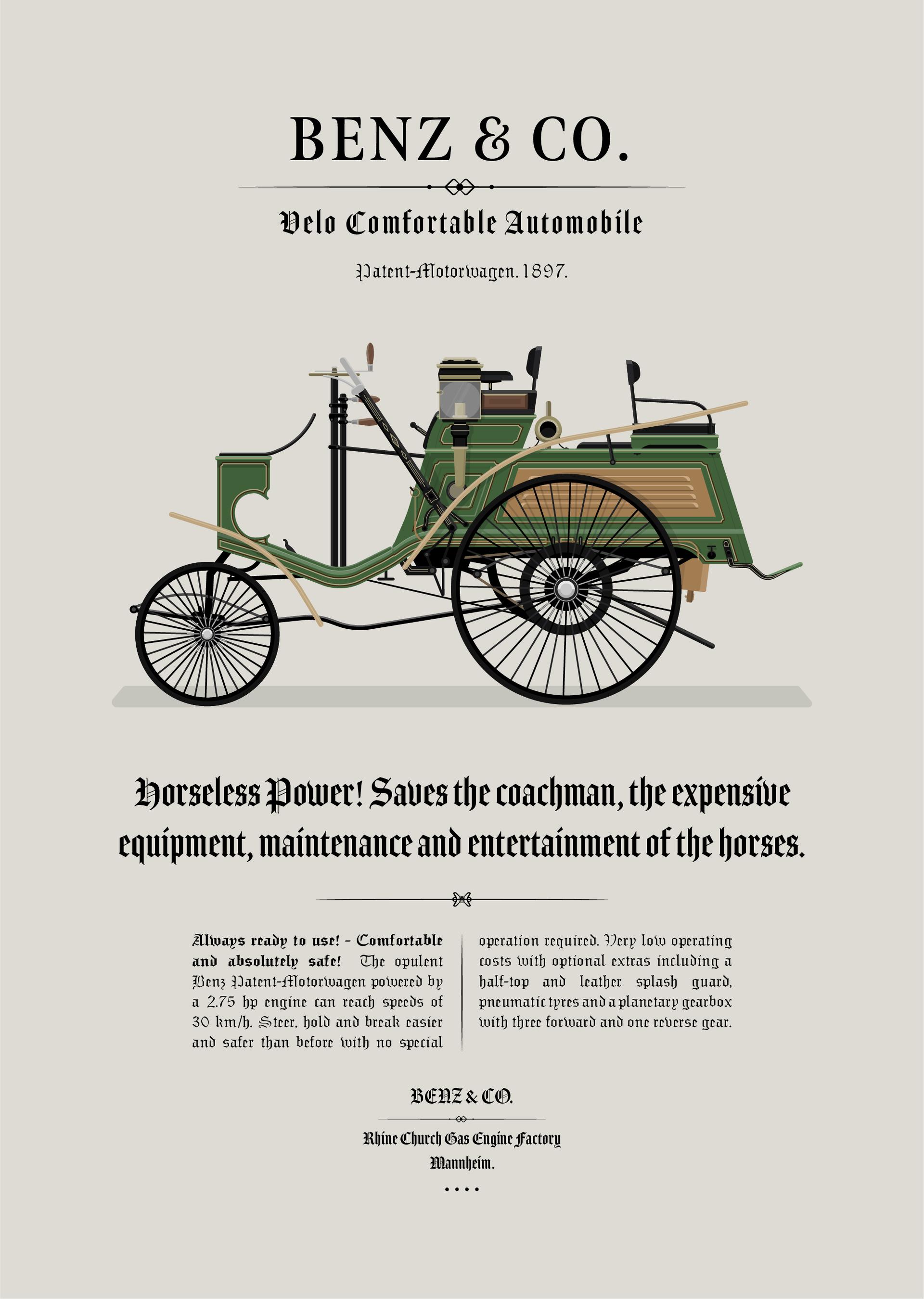 1897 Benz - Velo Comfortable Advertisement