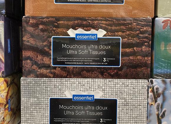 Mouchoirs essentiel 3 épaisseurs(72 par boîte) paquet de 9 boîtes