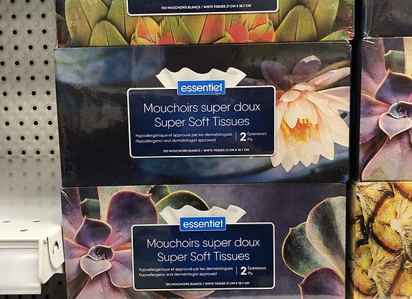 Mouchoirs essentiel 2 épaisseurs(100 par boîte) paquet de 9 boîtes