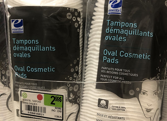 Tampons démaquillants ovales en cotton essentiel 50 unités