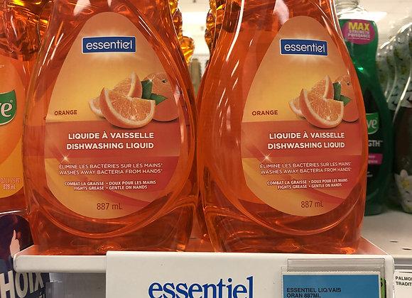 Savon à vaisselle liquide essentiel à l'orange 887mL
