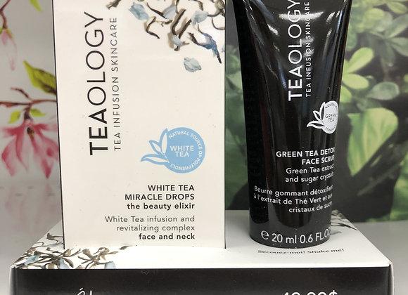 Coffret Teaology Elixir au thé blanc + beurre gommant visage au thé vert