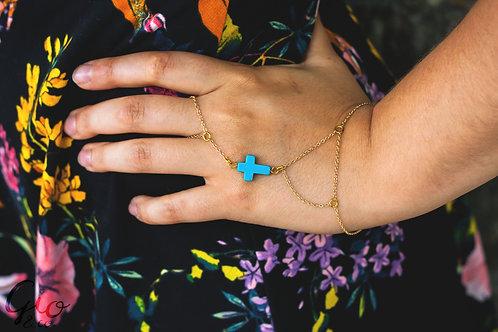 Blue Cross Ring Bracelet