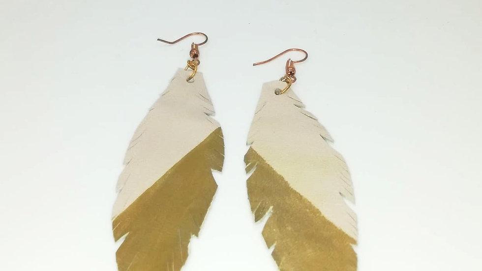 Fancy leather feather earrings