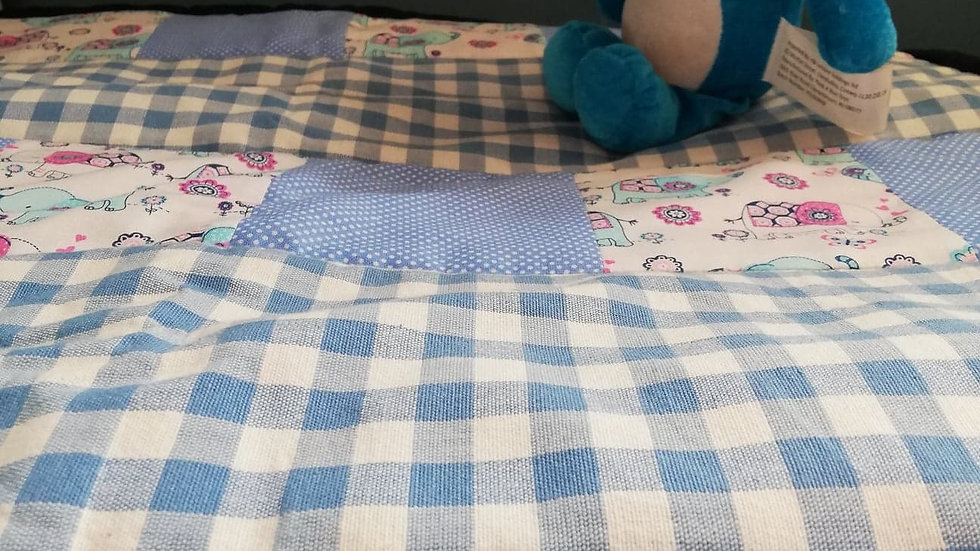 Blue patch work quilt 37x 26 inches
