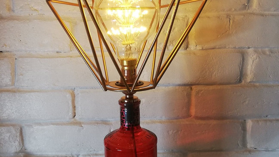 Whitley Neill Raspberry Gin table Light with dandelion bulb in red cage