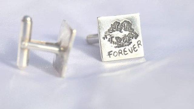 Bespoke cufflinks, lips,fingerprint,foot or hand