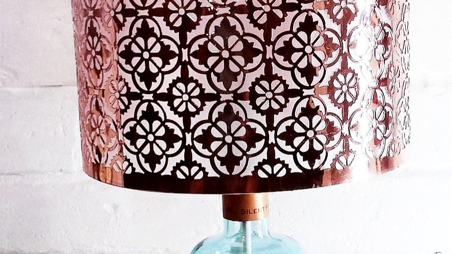 Bottle lamp Silent Pool Gin with Copper shade.