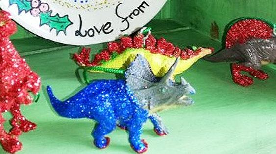 Glitter Dinosaur  Christmas Tree decorations set of four.