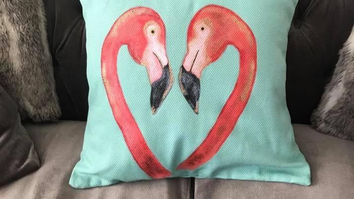 Twin flame flamingo cushion