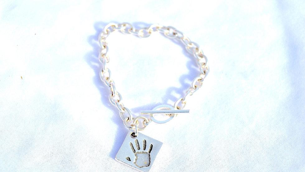 personal handprint charm and bracelet