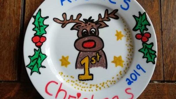 Personalised babies 1st Christmas plate