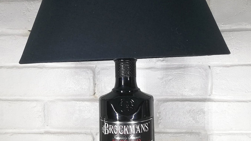 Brockmans Gin Bottle lamp with black square shade