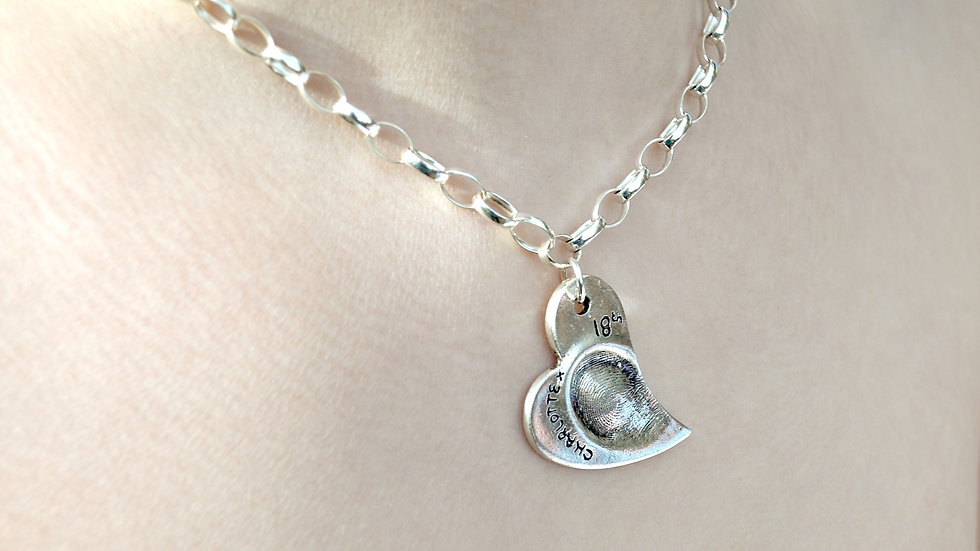 finger print  heart pendant on 18 inch