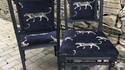 Leopard chairs, (pair)