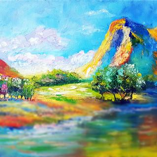 Zion Painting National Park Original Art Mountain River Colorful Impasto Landscape Canvas Artwork