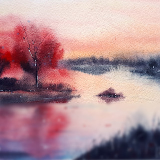 Vermont Painting Original Art West River Watercolor Fog Trees Wall Art Landscape Artwork