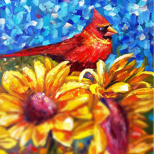 Sunflower Painting Red Cardinal Bird Original Art Impasto Oil Artwork