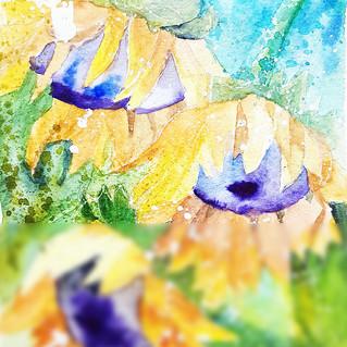 Sunflowers Painting Original Art Sunflower Watercolor Floral Artwork