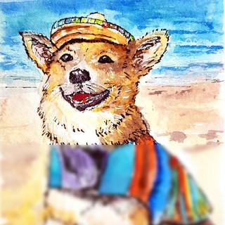 Dog Painting ACEO Original Art Watercolor Welsh Corgi Beach Artwork