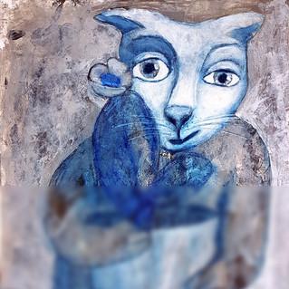 Cat Painting Original Art Acrylic Cactus Pet Naive Small Artwork