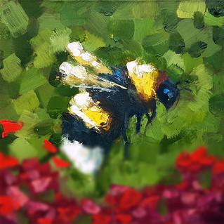 Honeybee Painting Original Art Impasto Red Flower Small Artwork