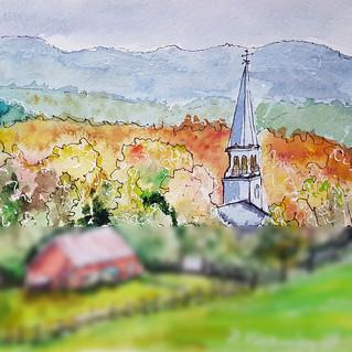 Vermont Art Watercolor Stowe Painting Original Art Autumn Farm Landscape Rural Church