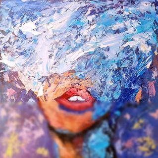 Faceless Portrait Original Art Impasto Abstract Painting Woman Lips Wall Art