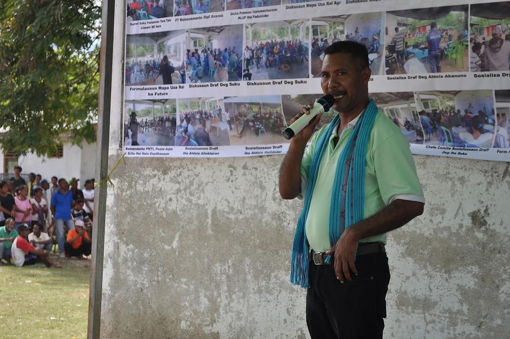 RAEBIA Timor-Leste executive director Xisto Martins addressing the Hera community