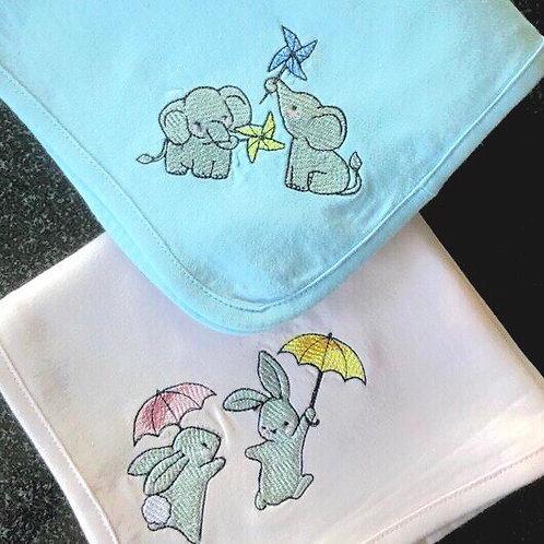 Light weight Baby Blanket -baby bunnies and elephants