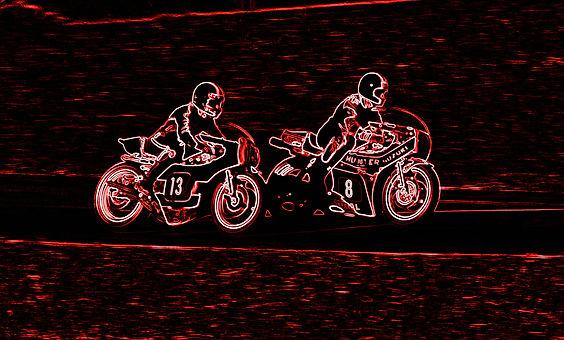 stylised image of motorbikes