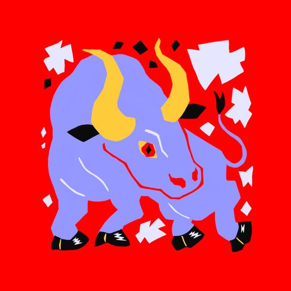 Bull character tile