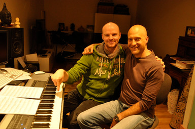 Brydon and Bill recording My Cabaret Songs