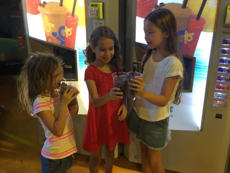 Tel Aviv LEGO park visitors enjoys on-demand frozen drinks made automatically by quinzee machines